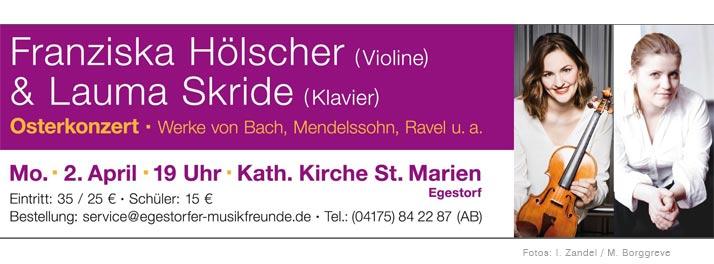 Franzika Hölscher und  Lauma Skride am 02.04.2018 in der St. Marien-Kirche in Egestorf