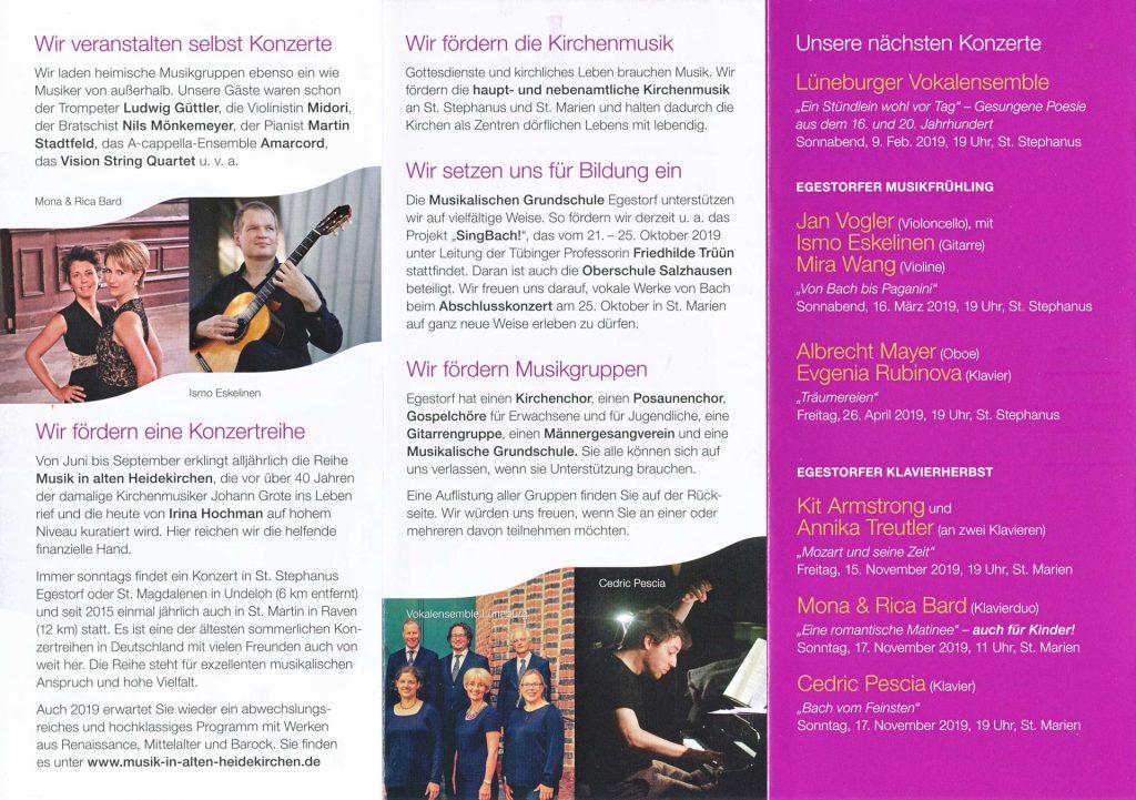Egestorfer Musikfgreunde Programm 2019