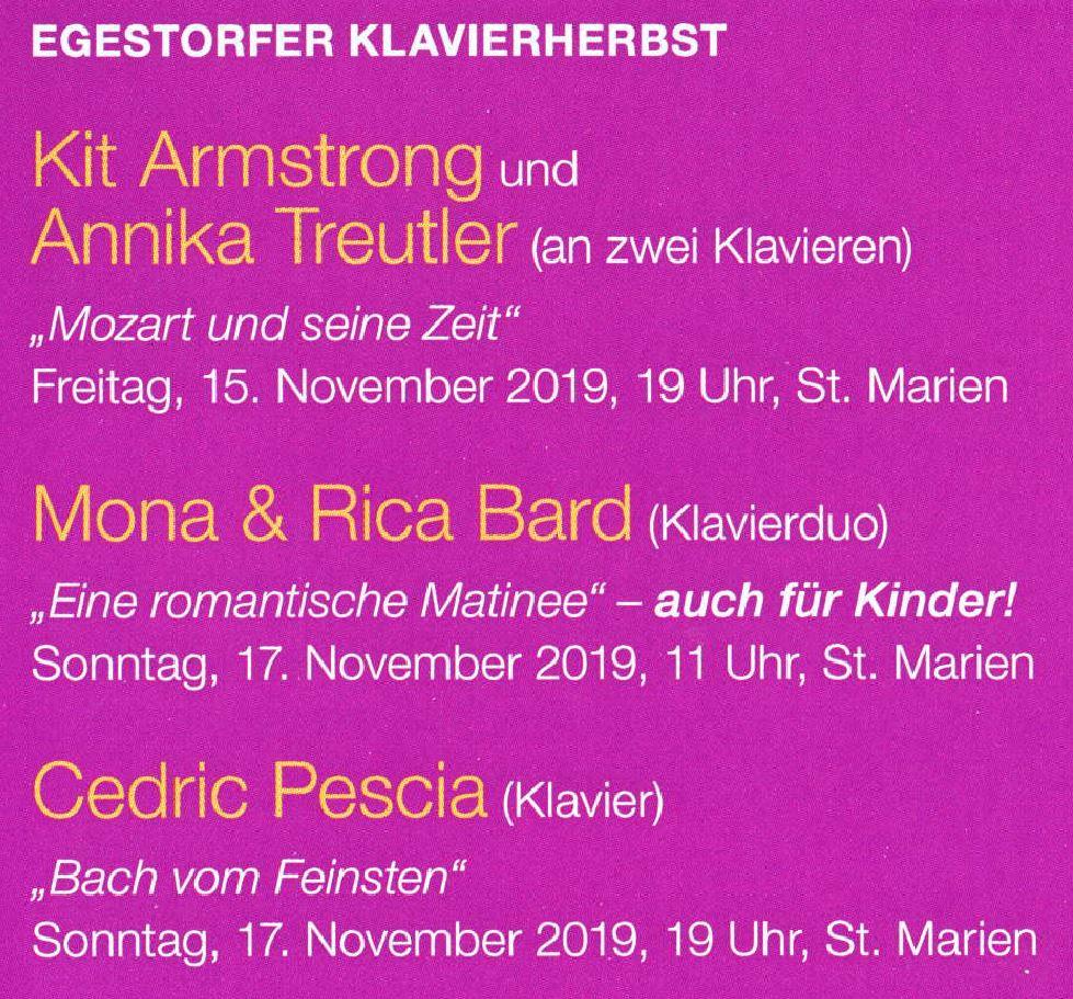 Egestorfer Klavierherbst 2019: Armstrong, Treutler,Mona & Rica Bard, Cedric Pescia